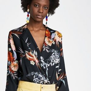 Zara Floral Printed Bodysuit Blouse